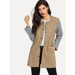 shein color block longline coat